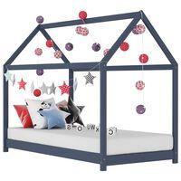 vidaXL bērnu gultas rāmis, pelēks, priedes masīvkoks, 70x140 cm