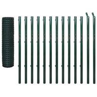 vidaXL Euro stiepļu žogs, tērauds, 25x1,7 m, zaļš