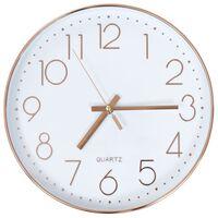 vidaXL sienas pulkstenis, 30 cm, zeltaini rozā