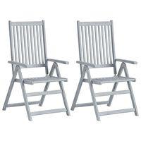 vidaXL atgāžami dārza krēsli, 2 gab., pelēks akācijas masīvkoks