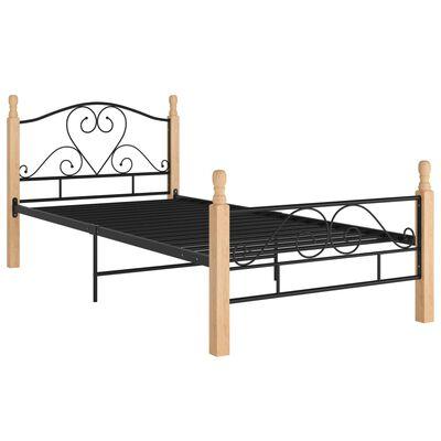 vidaXL gultas rāmis, melns metāls, 100x200 cm