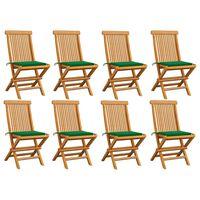 vidaXL dārza krēsli, 8 gab., zaļi matrači, masīvs tīkkoks