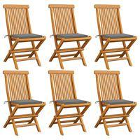 vidaXL dārza krēsli, pelēki matrači, 6 gab., masīvs tīkkoks