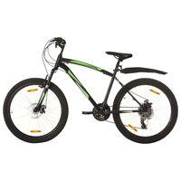 vidaXL kalnu velosipēds, 21 ātrums, 26'', 46 cm, melns