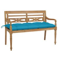 vidaXL sols ar gaiši zilu matraci, 120 cm, masīvs tīkkoks