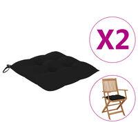 vidaXL dārza krēslu matrači, 2 gab., melni, 40x40x7 cm, audums