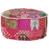 vidaXL tekstilmozaīkas pufs, kokvilna, roku darbs, 40x20 cm, rozā