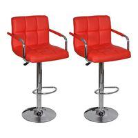 vidaXL bāra krēsli, 2 gab., sarkana mākslīgā āda