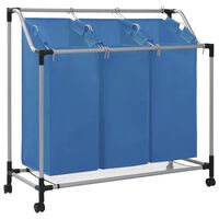 vidaXL veļas kaste, 3 nodalījumi, zila, tērauds