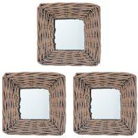 vidaXL spoguļi, 3 gab., 15x15 cm, pīti