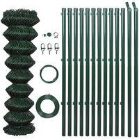 vidaXL stiepļu žogs ar stabiem, tērauds, 0,8x15 m, zaļš