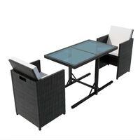 vidaXL 3-daļīgs bistro mēbeļu komplekts ar matračiem, PE pinums, melns