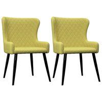 vidaXL virtuves krēsli, 2 gab., zaļš audums
