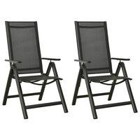 vidaXL saliekami dārza krēsli, 2 gab., tekstilēns, alumīnijs, melni