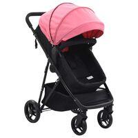 vidaXL divi-vienā bērnu ratiņi, tērauds, rozā un melni
