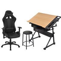 vidaXL biroja krēsls un rasēšanas galds, ar noliecamu virsmu