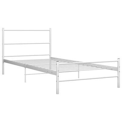 vidaXL gultas rāmis, balts metāls, 90x200 cm
