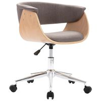 vidaXL biroja krēsls, grozāms, liekts koks un pelēkbrūns audums