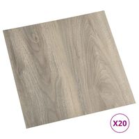 vidaXL grīdas flīzes, 20 gab., pašlīmējošas, 1,86 m², PVC, pelēkbrūnas