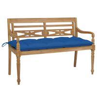 vidaXL sols ar zilu matraci, 120 cm, masīvs tīkkoks