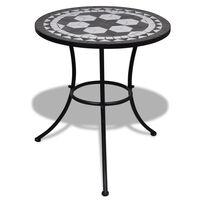 vidaXL bistro galds, 60 cm, melna un balta mozaīka