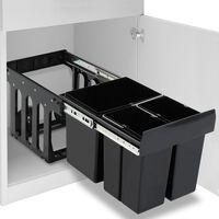vidaXL izvelkama atkritumu tvertne, lēnās aizvēršanas sistēma, 48 L