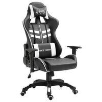 vidaXL datorspēļu krēsls, balta mākslīgā āda