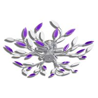 Griestu lampa ar akrila kristālu lapām 5 E14 spuldzēm, violeta, balta