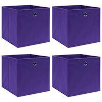 vidaXL uzglabāšanas kastes, 4 gab., 32x32x32 cm, violets audums