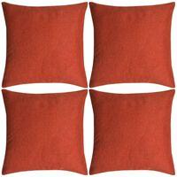 vidaXL spilvenu pārvalki, 4 gab., 80x80 cm, linam līdzīgi, sarkanbrūni
