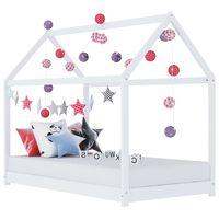 vidaXL bērnu gultas rāmis, balts, priedes masīvkoks, 90x200 cm