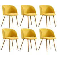 vidaXL virtuves krēsli, 6 gab., dzeltens audums