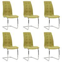 vidaXL konsoles virtuves krēsli, 6 gab., zaļš audums