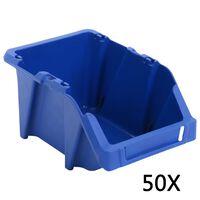 vidaXL mantu uzglabāšanas tvertnes, 50 gab., 200x300x130 mm, zilas