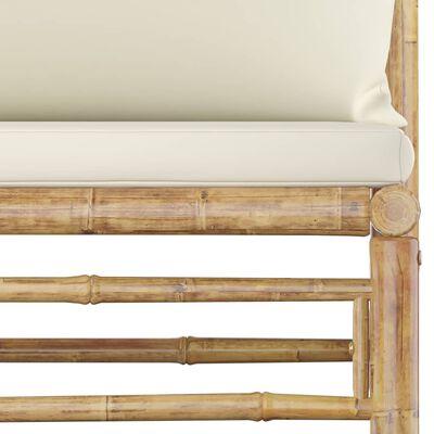 vidaXL dārza vidējais dīvāns ar krēmbaltiem matračiem, bambuss