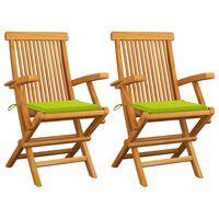 vidaXL dārza krēsli, spilgti zaļi matrači, 2 gab., masīvs tīkkoks