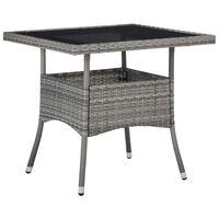 vidaXL dārza galds, pelēks, PE rotangpalmas pinums un stikls