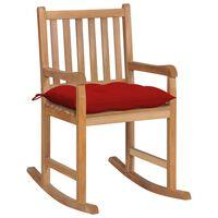 vidaXL šūpuļkrēsls ar sarkanu matraci, masīvs tīkkoks