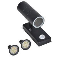 Sienas Lampa LED Melna ar Sensoru 35 W Nerūsējošais Tērauds