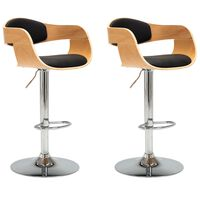 vidaXL bāra krēsli, 2 gab., liekts koks un melna mākslīgā āda