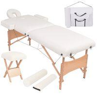 vidaXL masāžas galds un taburete, 2 daļas, saliekams, 10 cm, balts