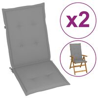 vidaXL dārza krēslu spilveni, 2 gab., pelēki, 120x50x4 cm