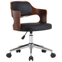vidaXL biroja krēsls, grozāms, liekts koks, melna mākslīgā āda