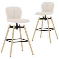vidaXL grozāmi bāra krēsli, 2 gab., krēmkrāsas audums