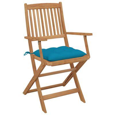 vidaXL saliekami dārza krēsli ar matračiem, 2 gab., akācijas masīvkoks