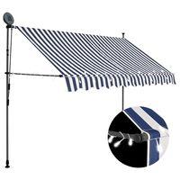 vidaXL izvelkama markīze ar LED, manuāla, 250 cm, zila ar baltu