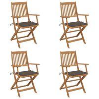 vidaXL saliekami dārza krēsli ar matračiem, 4 gab., akācijas masīvkoks