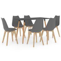 vidaXL 7 Piece Dining Set Grey (287244+3x288391)