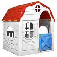 vidaXL bērnu rotaļu māja ar durvīm un logiem, saliekama