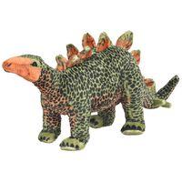 vidaXL rotaļu dinozaurs, stegozaurs, zaļš un oranžs plīšs, XXL